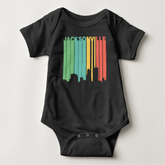 Body Para Bebê Skyline retro de Jacksonville Florida do estilo