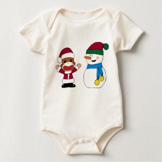 Body Para Bebê Sockmonkey e Bodysuit da criança do boneco de neve