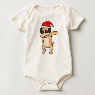 Body Para Bebê Solha bonito do cão com o t-shirt de Chrismas do