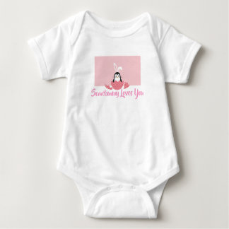 Body Para Bebê Somebunny cor-de-rosa ama-o
