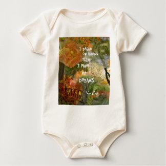 Body Para Bebê Sonho de rosas cinzentos e alaranjados