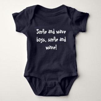 Body Para Bebê Sorria e acene meninos, sorriso e onda!