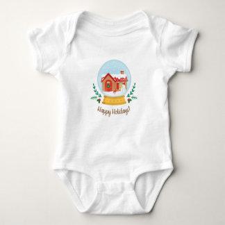 Body Para Bebê T bonito do globo da neve do Natal da casa de
