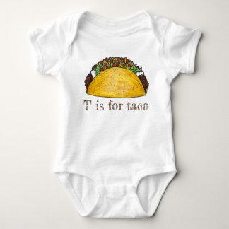 Body Para Bebê T é para a letra mexicana T do alfabeto da comida