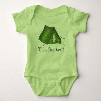 Body Para Bebê T é para o alfabeto da barraca de acampamento do