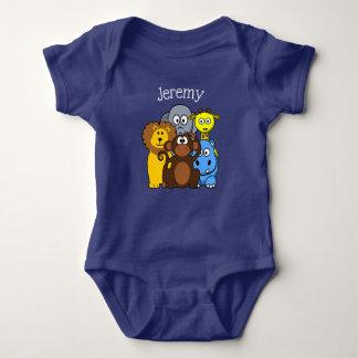 Body Para Bebê T personalizado temático do bebê dos animais da