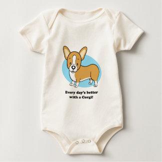 Body Para Bebê T-shirt bonito do Corgi do cão dos desenhos