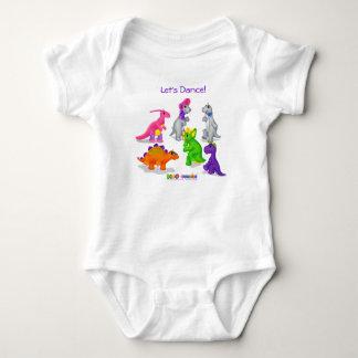 """Body Para Bebê T-shirt de Dino-Buddies™ - """"deixe-nos dançar"""" o"""