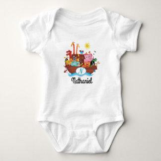 Body Para Bebê T-shirt personalizado arca do bebê de Noah do
