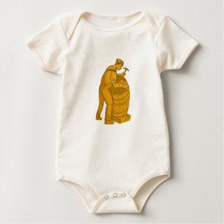 Body Para Bebê Tanoeiro que faz o desenho de madeira do tambor