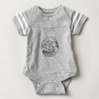 Body Para Bebê Tatuagem do círculo da montanha do astronauta do
