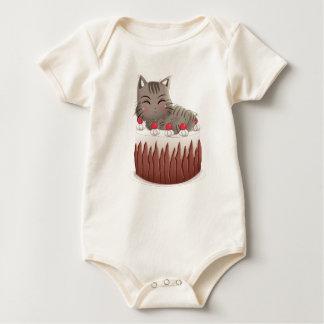 Body Para Bebê Tempo do petisco: Gato que come a pastelaria