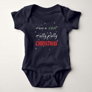 Body Para Bebê Tenha um Natal alegre do azevinho