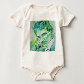 Body Para Bebê tesla do nikola - aguarela portrait.2