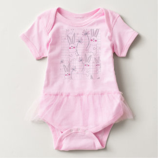 Body Para Bebê Teste padrão bonito do pastel do cinza azul do