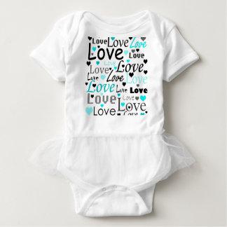 Body Para Bebê Teste padrão ciano do amor