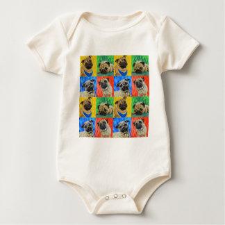 Body Para Bebê Teste padrão de repetição preliminar do Pug