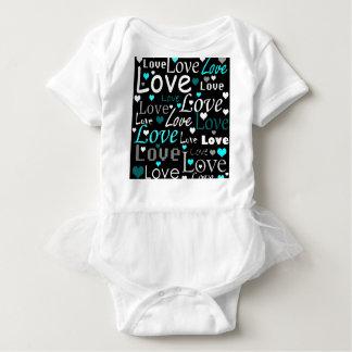 Body Para Bebê Teste padrão do amor - ciano