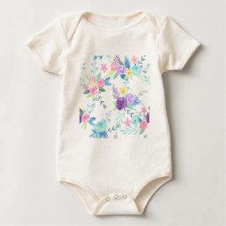 Body Para Bebê Teste padrão floral da cor pastel da aguarela