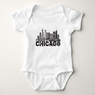 Body Para Bebê Texto da skyline da cidade de Chicago preto e