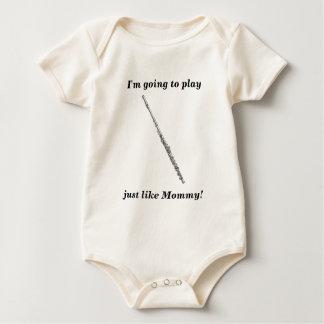 Body Para Bebê Texto dado forma flauta do preto da arte da