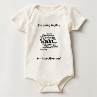 Body Para Bebê Texto do preto da nuvem da palavra do violino