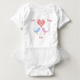 Body Para Bebê Texto doce bonito do costume dos pássaros do amor