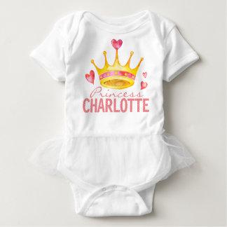Body Para Bebê Tiara Monogrammed feita sob encomenda do nome | da