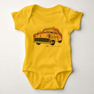 Body Para Bebê Tom '54 Chevy do bege dois no bebê das chamas