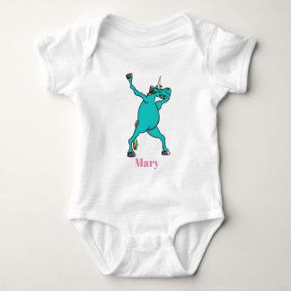 Body Para Bebê Toque ligeiro bonito do unicórnio da dança da