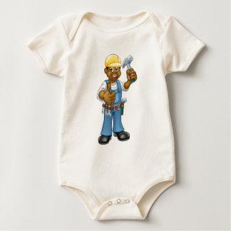 Body Para Bebê Trabalhador manual preto do carpinteiro