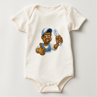 Body Para Bebê Trabalhador manual preto do mecânico ou do