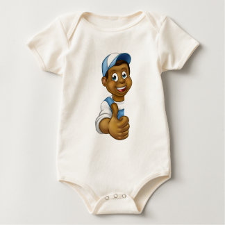 Body Para Bebê Trabalhador manual preto que espreita os polegares