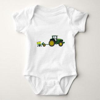 Body Para Bebê Trator verde com carro do plantador