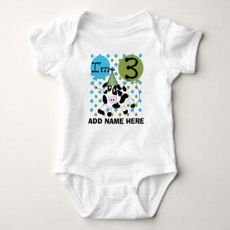 Body Para Bebê Tshirt azul personalizado do aniversário de 3 anos