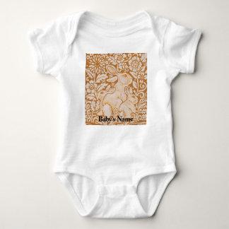 Body Para Bebê Tshirt do vintage do ouro do bebê do coelho de