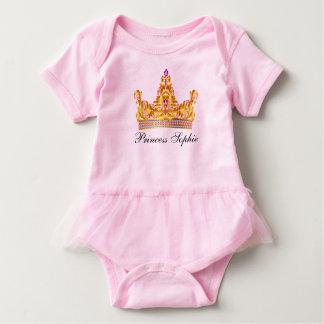 Body Para Bebê Tutu Onsie do bebé da princesa Ouro Tiara