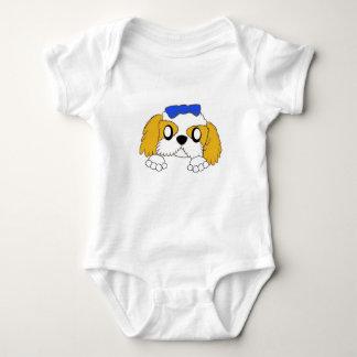 Body Para Bebê tzu de shih que espreita o ouro e o branco