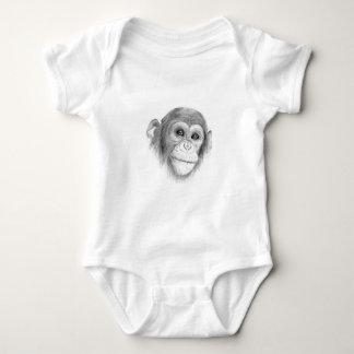 Body Para Bebê Um chimpanzé, não monkeying ao redor o esboço