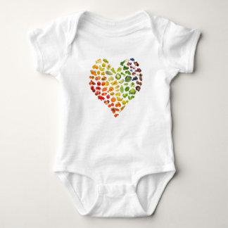 Body Para Bebê Um coração pequeno do bebê do Vegan por mini