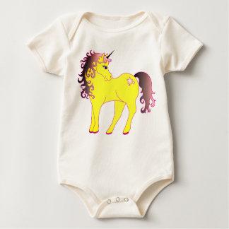 Body Para Bebê Unicórnio amarelo bonito