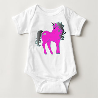 Body Para Bebê Unicórnio cor-de-rosa bonito