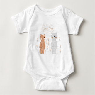 Body Para Bebê Urso de ursinho bonito do casal dos namorados dos