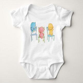 Body Para Bebê Ursos amarelos, cor-de-rosa, e do azul em cadeiras