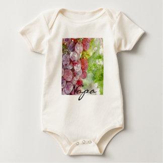 Body Para Bebê Uvas roxas da aguarela de Napa Valley.