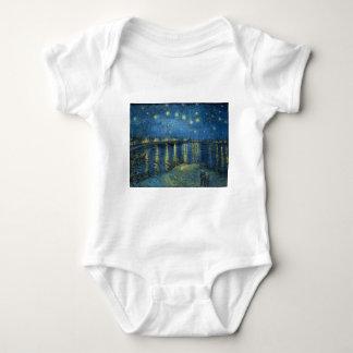 Body Para Bebê Van Gogh: Noite estrelado sobre o Rhone