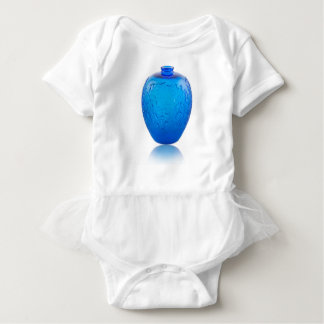 Body Para Bebê Vaso de vidro do art deco azul com folhas