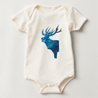 Body Para Bebê veado principal dos cervos no azul