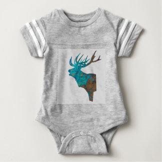 Body Para Bebê veado principal dos cervos nos turquois