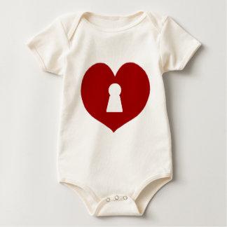 Body Para Bebê Vermelho do coração do buraco da fechadura